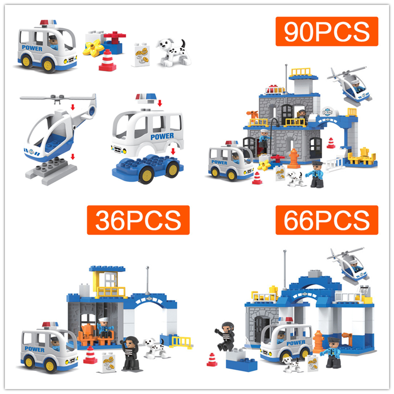 Large Particles Building Block Brick City Police Station Compatible With Legoingly Duplo Early Education Baby Toys Gift kid s home toys brand large particles city hospital rescue center model building blocks large size brick compatible with duplo