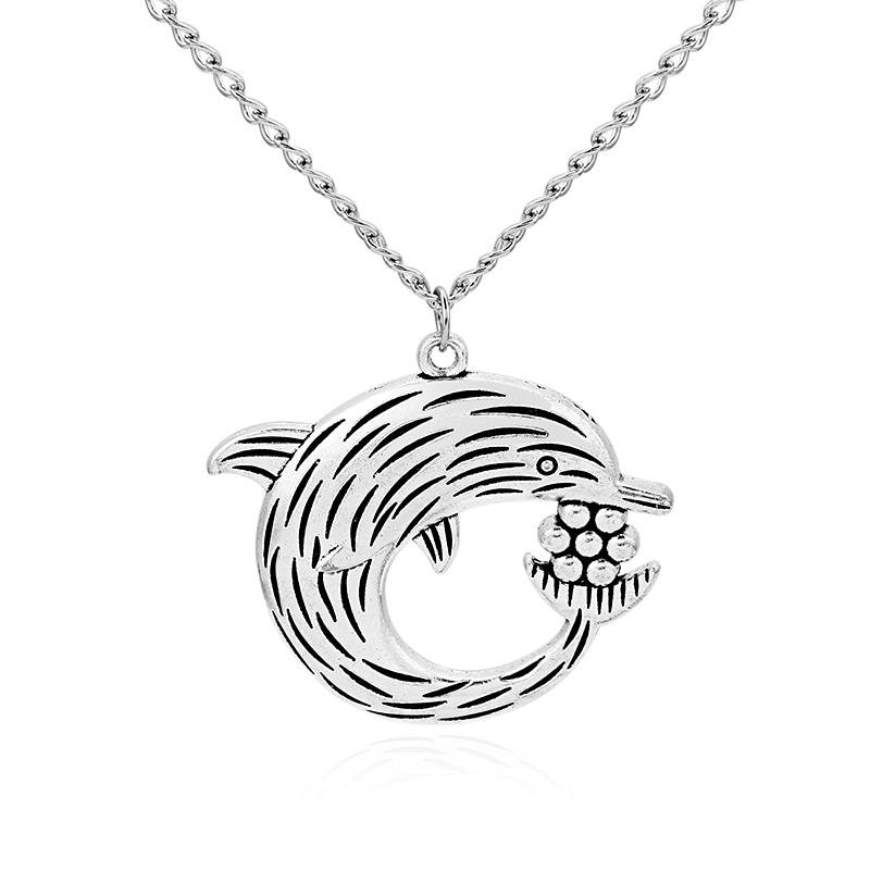Lagenlook Jewellery: 1pcs Antique Silver Large Lagenlook Dolphin Play Ball