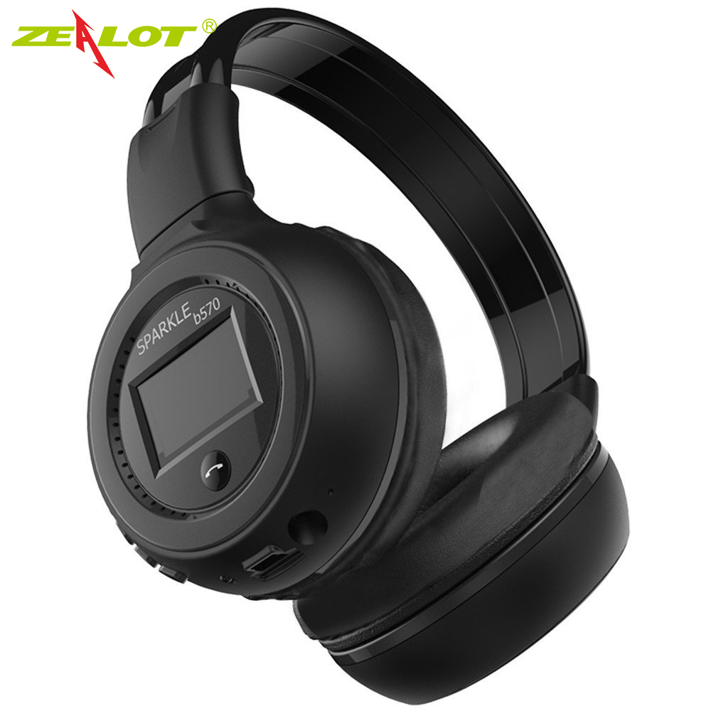 Zealot B570 With LCD Display Screen Bluetooth Headphone Foldable Hifi Stereo Wireless Earphone Headset FM Radio Micro-SD Slot economic set original nia q1 8 gb micro sd card a set bluetooth headphone wireless sport headsets foldable bluetooth earphone