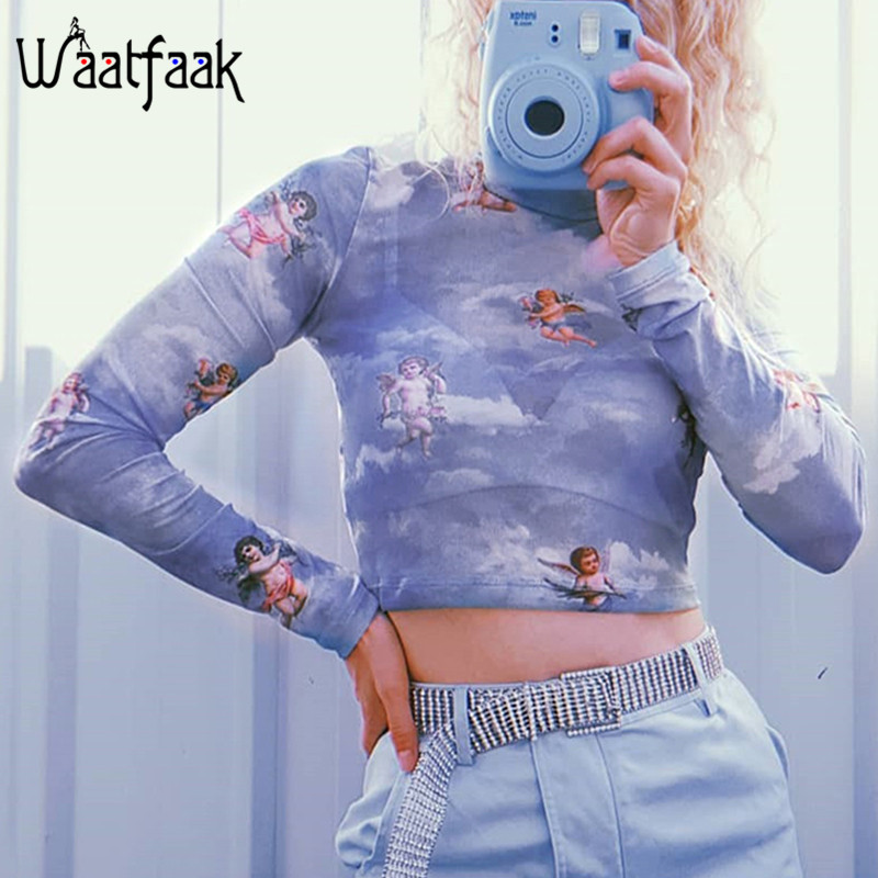 Waatfaak Christmas T Shirt Women Angel Print See Through Mesh Top Long Sleeve Crop Tops Tee Shirts Femme Kawaii Bodycon T-shirt see through angel shirt