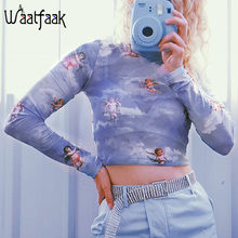 Waatfaak Christmas T Shirt Women Angel Print See Through Mesh Top Long Sleeve Crop Tops Tee Shirts Femme Kawaii Bodycon T-shirt(China)