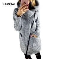 LASPERAL Cộng Với Kích Thước 5XL Phụ Nữ Coat 2017 Mùa Thu Mùa Đông Hoodie Ấm Áo Khoác Lông Cừu Nghiêng Zipper Cổ Áo Áo Khoác Jaqueta Femininos