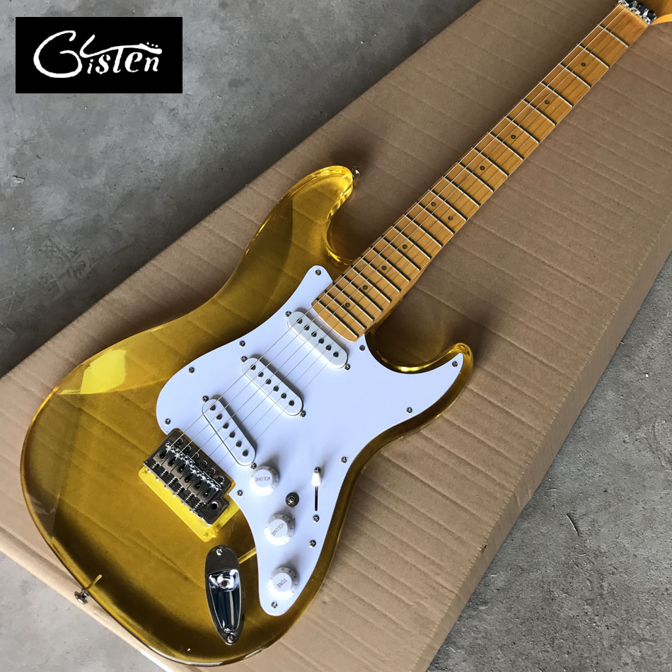 New Arrival yellow Acrylic body Electric Guitar with With lights, Maple fingerboard acrylic light electric guitar, Free shipping free shipping custom new 24 frets ash body maple fingerboard blackmachine b7 special shape 7 strings electric guitar 16 131