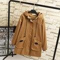 2016 Outono Mulheres Trench Coat Casuais 3XL 4XL Plus Size Com Capuz Solto Longo Cáqui Trincheira Outerwear Preto KK2100
