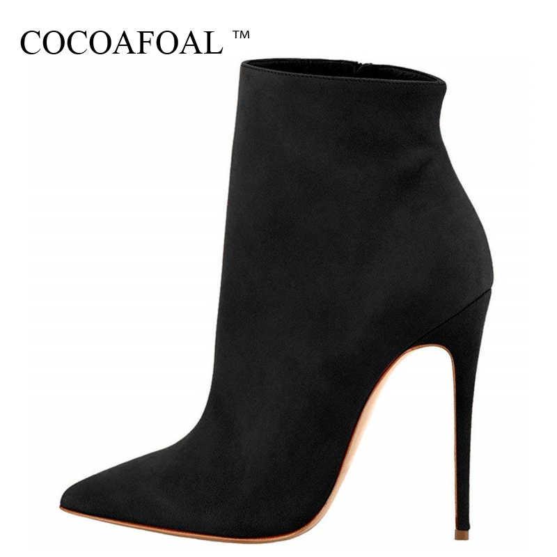 COCOAFOAL ฤดูใบไม้ร่วงฤดูหนาวผู้หญิงรองเท้าส้นสูงข้อเท้าเชลซีรองเท้าแฟชั่นเซ็กซี่รองเท้าผู้หญิง Pointed Toe Martin บู๊ทส์สีดำ