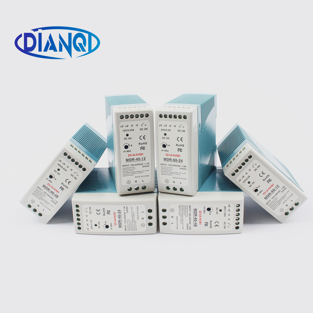 High quality din rail power supply switch 40W or 60W ,12V , 24V or 48V output DIANQI Switching MDR-60 or MDR-40 24v 1 7a 40w ce approved mini din rail single output switching power supply mdr 40 24