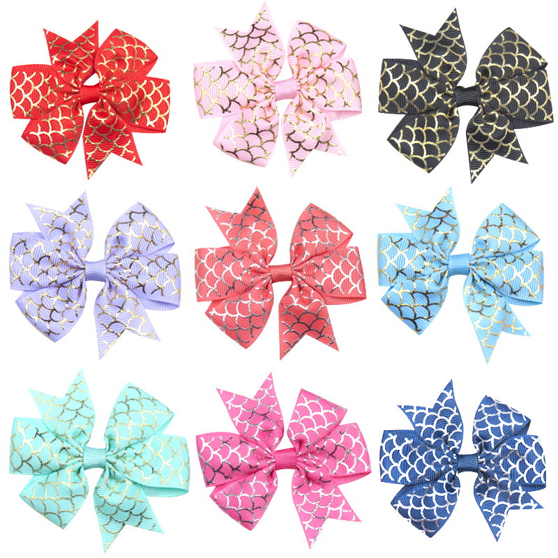 1PCS Novelty Golden Scales Elastic Hair Bands Girls Ribbon Clip Bow Girl Hair Tie Rope Hairpin Handmade Fashion Hair Accessories