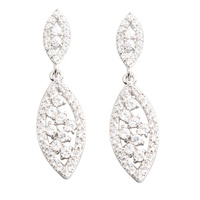 Glamorous White Stone 2 2mm Semi Precious Silver Cool For Womens Stud Earrings ED0341