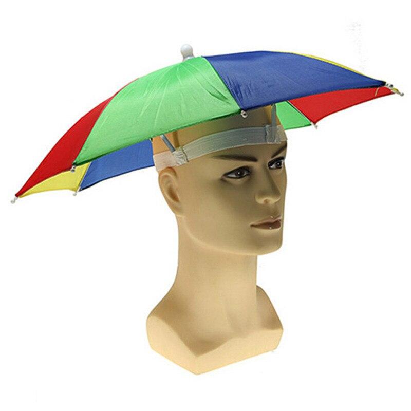 New Fashion Mutifunction Color Sun Hat Cap Foldable Umbrella Brolly Golf Travel Camping Fishing Hunting Handfree Random Color