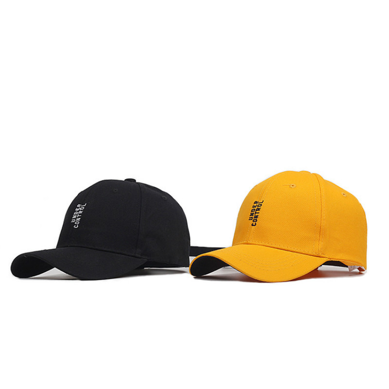 New Letters Embroidered   Caps     Baseball     Cap   for Men and Women with Long Band Black Yellow Hat 2 Colors Drop Shipping