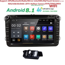 Quad core 2 дин Авторадио gps Android8.1 автомобильный dvd-плейер для v w поло passat b6 skoda octavia tiguan Гольф 5 кассетный магнитофон