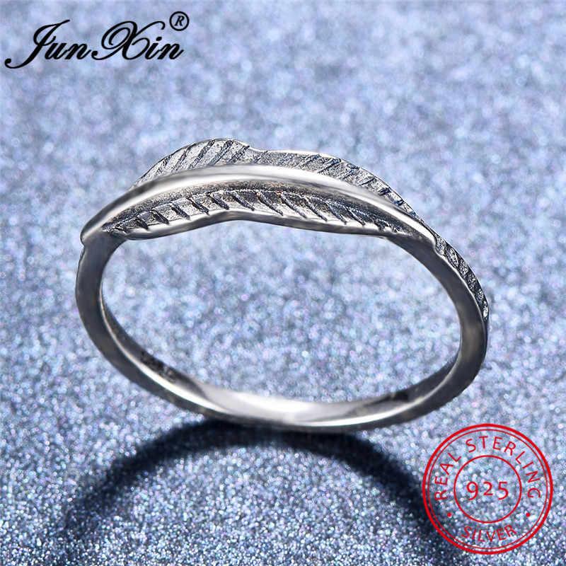 JUNXIN 100% 925 anillos de plata esterlina Real para las mujeres Simple hoja encanto anillo femenino apilable Delgado anillo minimalista joyería