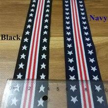 4cm Width Elastic Webbing American style Spandex Polyester Pentagram Red strip Design