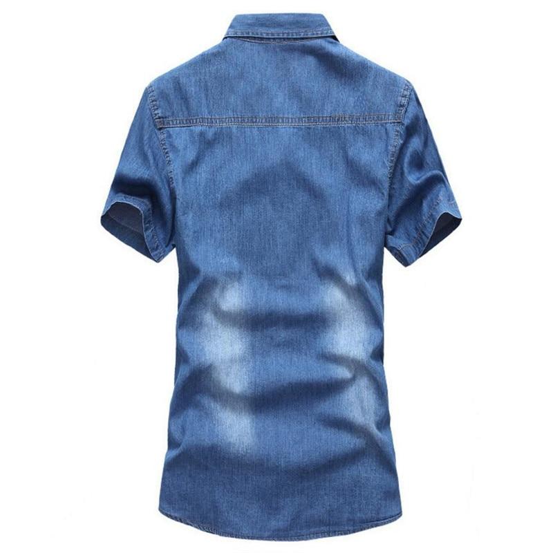 New 2018 Mens Boutique Summer Slim Fit Leisure Pure Cotton Short Sleeve Shirt Male Denim Shirt Men Hot Style Washed Jean Shirt