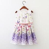 Everweekend Belle Enfants Filles D'été Sans Manches Nouvelle Mode Couleur Pourpre Fleurs Papillon Robe Partie Robe Douce