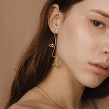 Asymmetrical Van Gogh Abstract Style Gold/Silver Face Stud Earrings For Women Chic Earrings boucles d'oreilles