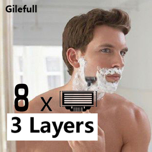 8pcs/lot High Quality Razor Blades For Men Face Care,3 Layers Shaving Razor Blade Suit For Gillettee Mach3 Handle
