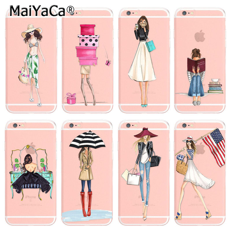 MaiYaCa soft tpu Phone Accessories For iPhone 6 6s Case Modern Sexy Girl Summer Outing Travel Relax Fashion Dress Shopping Girl