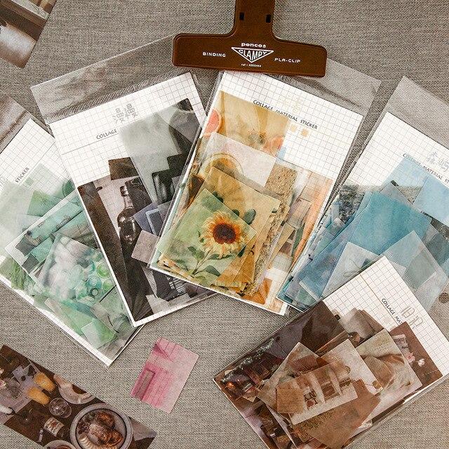 70Pcs/lot INS Splicing Patterns Washi Paper Sticker Decoration DIY Ablum Diary Scrapbooking Label Sticker Kawaii Stationery