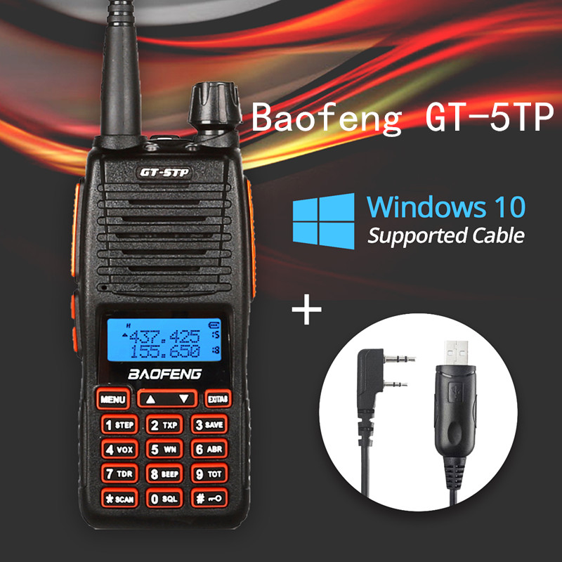 Baofeng GT-5TP Tri-Puissance 1/4/8 w Double Bande VHF/UHF 136-174/400- 520 mhz Deux-Way Radio Talkie Walkie GT-5 avec Win10 Pris En Charge Câble