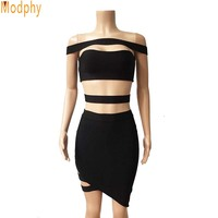 2016 New Summer Style Women 2 Pieces One Set Off Shoulder Celebrity Cocktail Party Sexy Slim