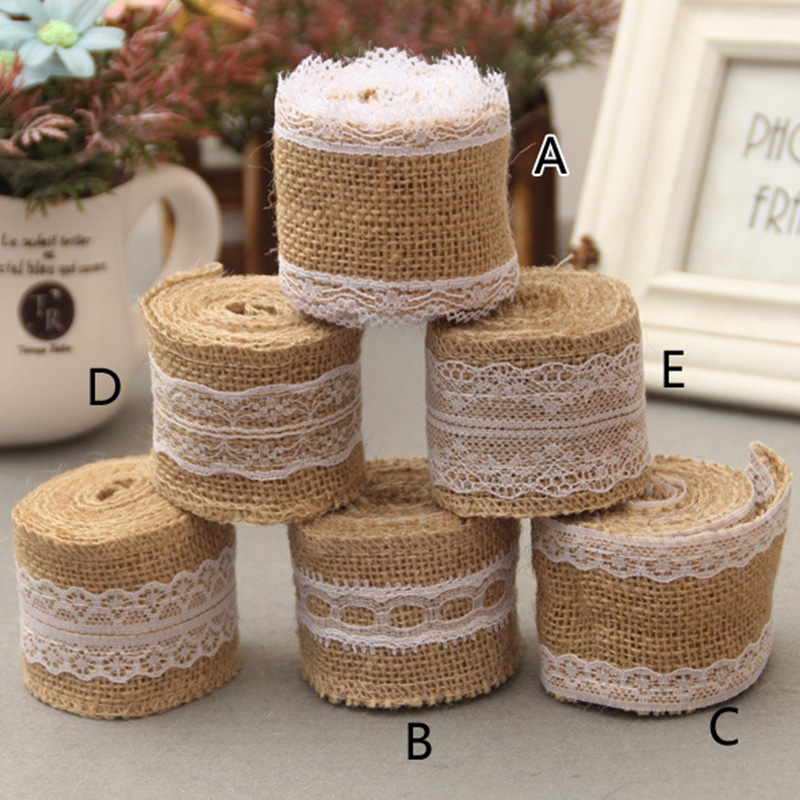 2meter 5cm rustic vintage natural jute burlap hessian ribbon roll with lace tape diy ornament rustic wedding decoration supplies