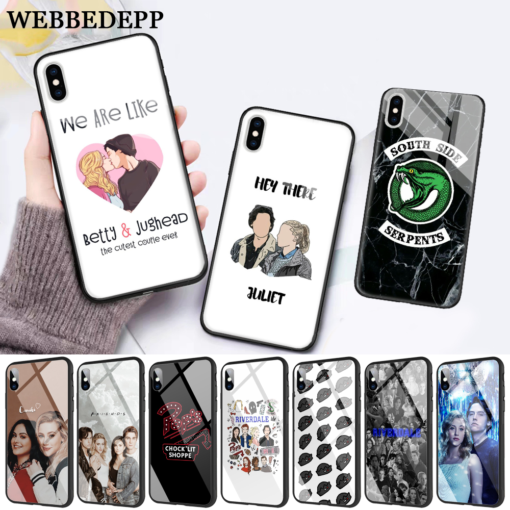 WEBBEDEPP Riverdale South Side Serpents Glass Phone Case for Apple iPhone XR X XS Max 6 6S 7 8 Plus 5 5S SE in Fitted Cases from Cellphones Telecommunications