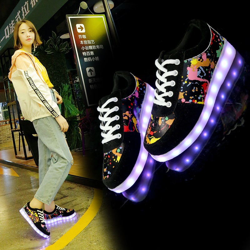 Women Luminous Sneakers for Lovers shoes with USB Charging colorful Female multi-sty Light Shoes Man LED Casual Shoes Size 34-46 2017 new usb charging glowing shoes kids led sneakers luminous lighted colorful led lights up children shoes boy girl shoes