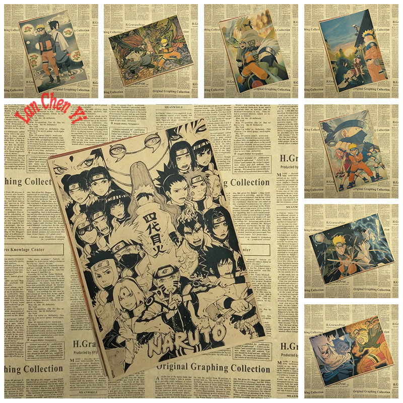 NARUTO Japonés clásico de dibujos animados Película Kraft Paper Poster Bar Cafe etiqueta de la pared Pintura Decorativa Envío Gratis