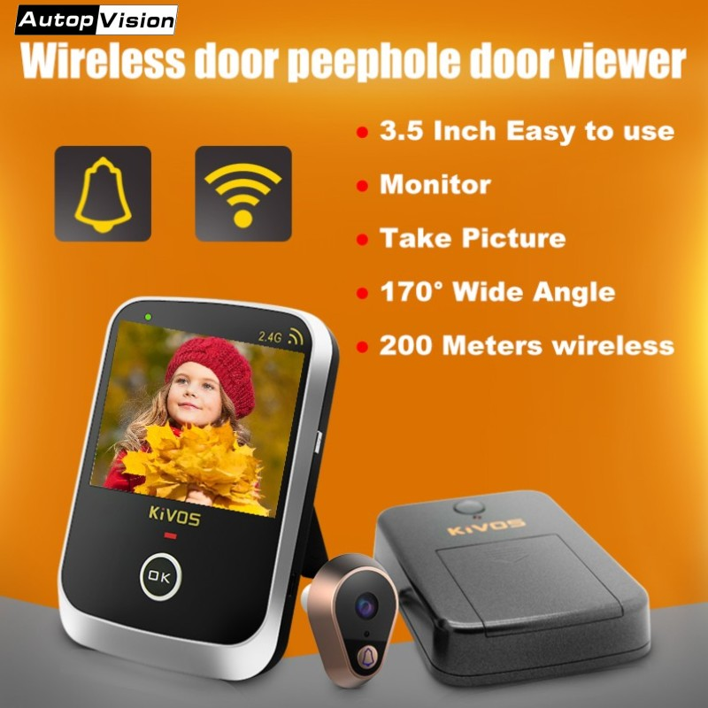 Hot sale KDB307A Wireless Door Eye Peephole Door Viewer Wireless Video Doorbell Camera with 3.5 Inch Monitor for Home Apartment