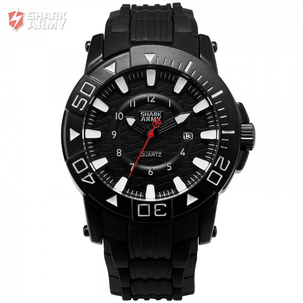 SHARK ARMY Brand Fashion Quartz Men Watches Date Function Male Clock Mens Rubber Wristwatch Military Relogio Masculino / SAW209 fashion hooktooth shark brand business