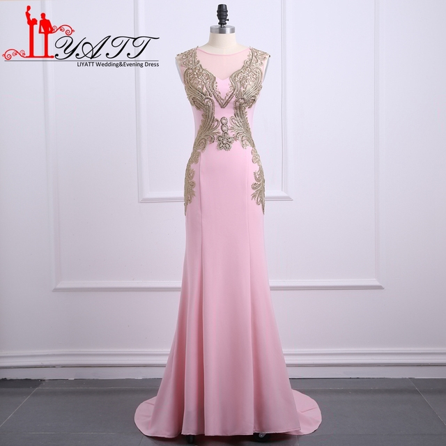Pink Long Mermaid Prom Dresses Sexy Gold Lace Beaded Sweep Train Stretch  Satin Formal Evening Dress Party Gown Custom Made 2f8d18c90c09