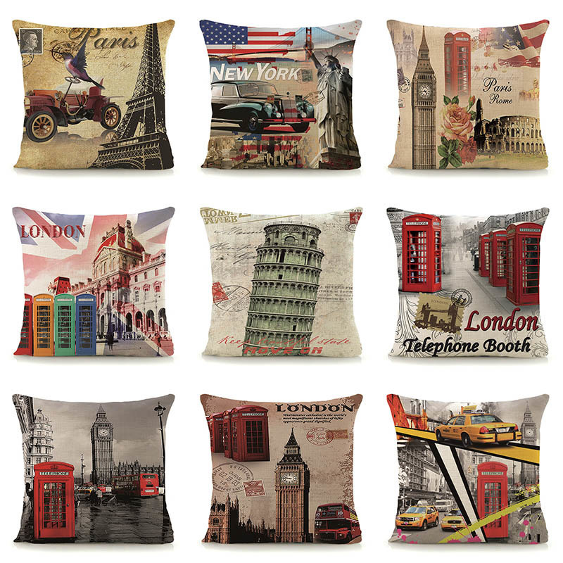 Vintage London scenic patterns cushion cover for couch car