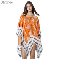 Vintage Chiffon Women Blouse Floral Print And Stripe Plus Size Women Top Batwing Sleeve Beach Cover
