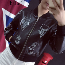 rand 2016 Fashion Real Leather Jacket for Men&Women Short Lover Painted Rivet Embroidery Geninue Leather Jacket Floral Coat