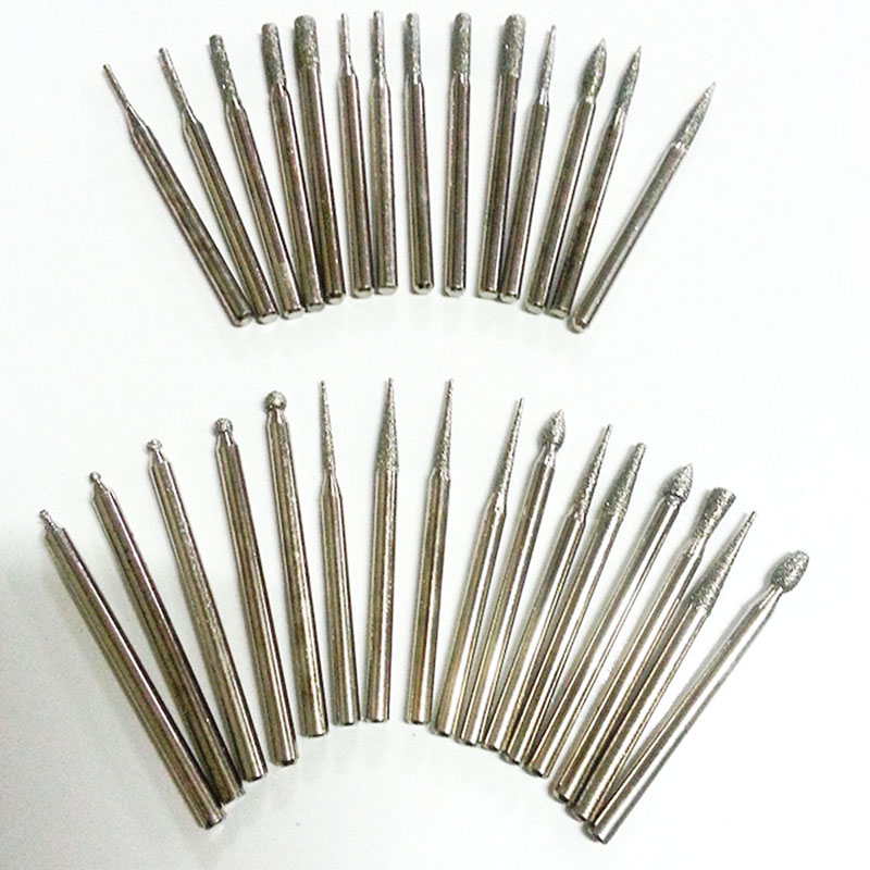 30pcs Diamond Burs Pneumatic Power Tools Diamond Grinding Dremel Tools Polished Abrasive Grinding Head Dremel Tools Accessories