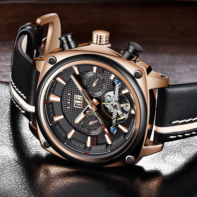 2019New Fashion Mens Watches LIGE Brand Luxury Automatic Mechanical Date Watch Tourbillon Waterproof Male Sport Mechanical