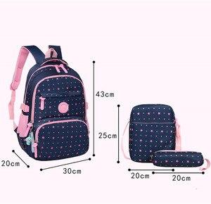Image 2 - 3 ピース/セット高品質スクールバッグファッションスクールバックパックティーンエイジャーの女の子のためランドセル子供のバックパック mochila アブラソコムツ