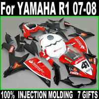 100% fit injection fairings for Yamaha YZF R1 07 08 red white black fairing kit YZFR1 2007 2008 +7 free gifts BD53