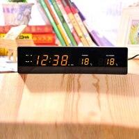 Retro wood shell alarm clock Orange light Silent Snooze led Living room bedroom decoration wooden clock
