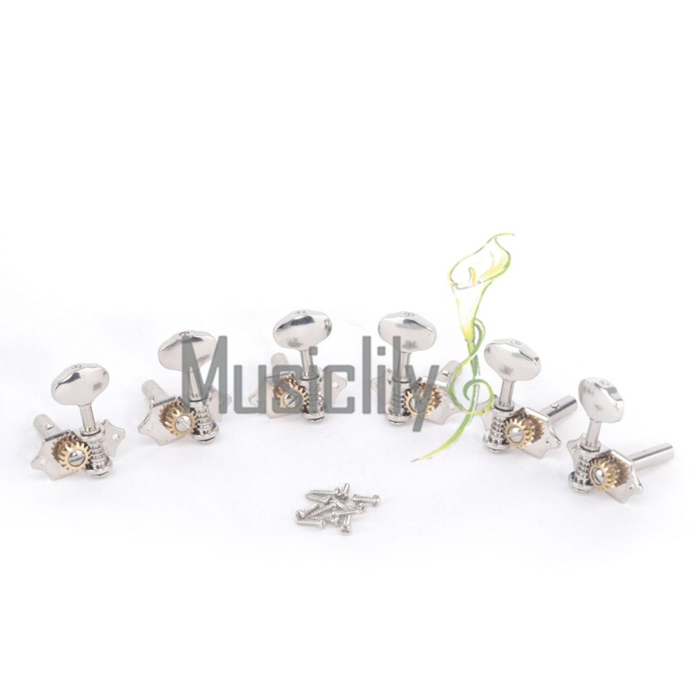 Musiclily Pro Classical Guitar Machine Heads Tuners Tuning Keys 3X3 Set for Slotted Head, Nickel a set chrome sealed gear tuning pegs machine heads tuners for guitar with black big square wood texture buttons
