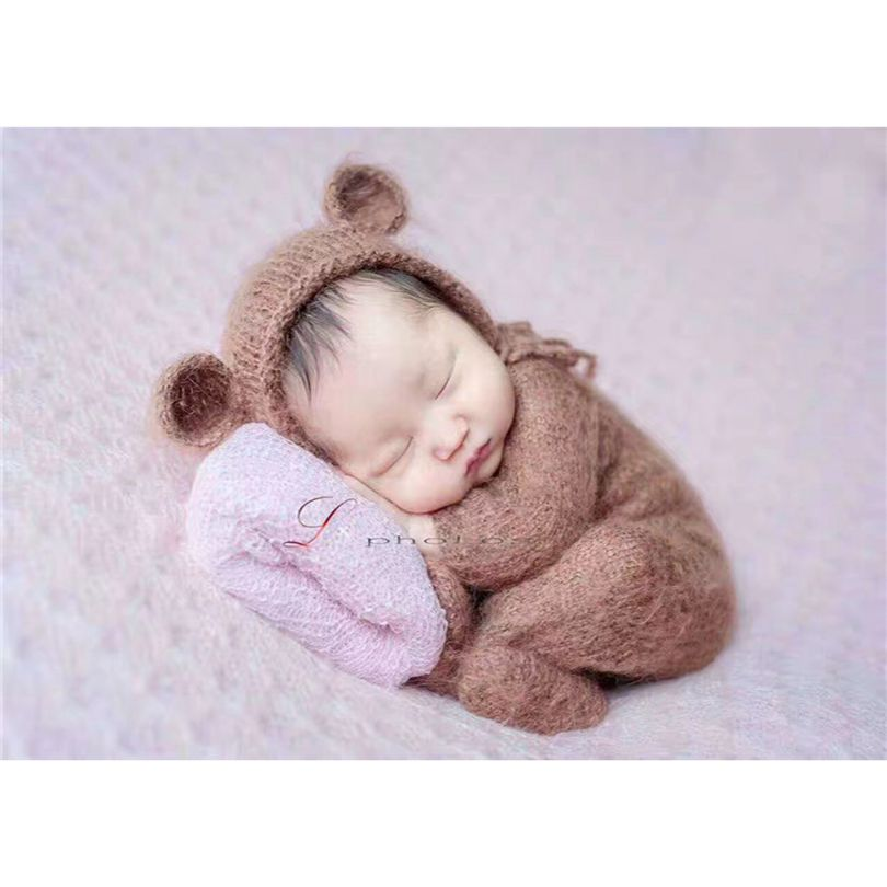 ac85344cf04 Newborn romper and Baby mohair bonnet clothes sets Photography props Hand knitted  baby pant Lace hat ...