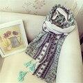 Las Mujeres de la vendimia bufanda Floral Vendimia de Las Señoras Bufandas foulard femme balaclava Bufanda Manta de Algodón de La Borla de invierno de la bufanda del mantón