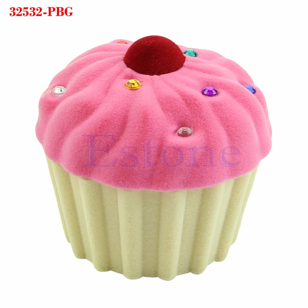 Cute Cake Cup Shape Velvet Ring Box Earring Pendant Locket Necklace Jewelry Case туалет для кошек savic s0263 с насадкой isis серый 42х31х12 5см