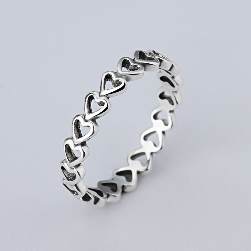 wholesale Hot Sale Fashion jewelry Real Pave Setting Plant Trendy LOVE 925 silver Retro woman Ring Ring