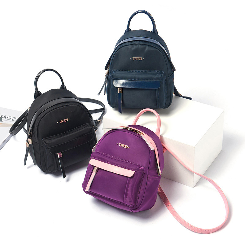 Nylon Genuine Leather Women Mini Backpack New Arrival Korean Style Fashion Oxford Backpack With Two Usages