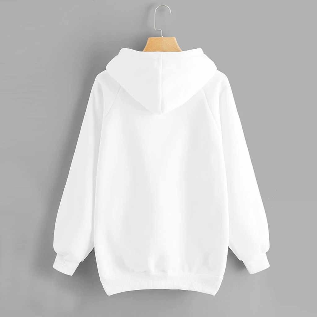 النساء هوديس Harajuku خطابات طباعة جيب الدافئة رشاقته البلوفرات الهيب هوب فضفاض الصلبة سيدة بلوزات سترات