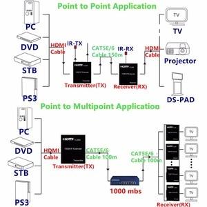 Image 5 - HDMI エクステンダー送信者 150 メートル LAN CAT5E/6 ケーブルアダプタネットワーク UTP コネクタ、ポイントツーマルチポイントハイビジョンパソコン送料無料