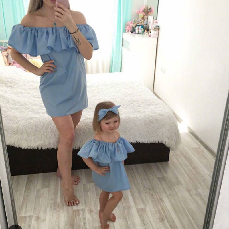New Family Clothes Ladys Mother Daughter Matching Summer Baby Girl Dress Outfit