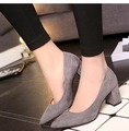 Suede Square Heel Office Career Dress Shoes Pumps Women High Heel Shoes Pointed Toe Wedding Shoes Party Shoes 161110-2